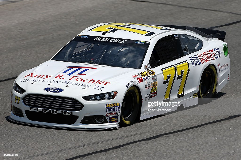 Joe Nemechek driver of the Fochler Veterans Law Ford practices for the NASCAR Sprint Cup Series OralB USA 500 at Atlanta Motor Speedway on August 29...