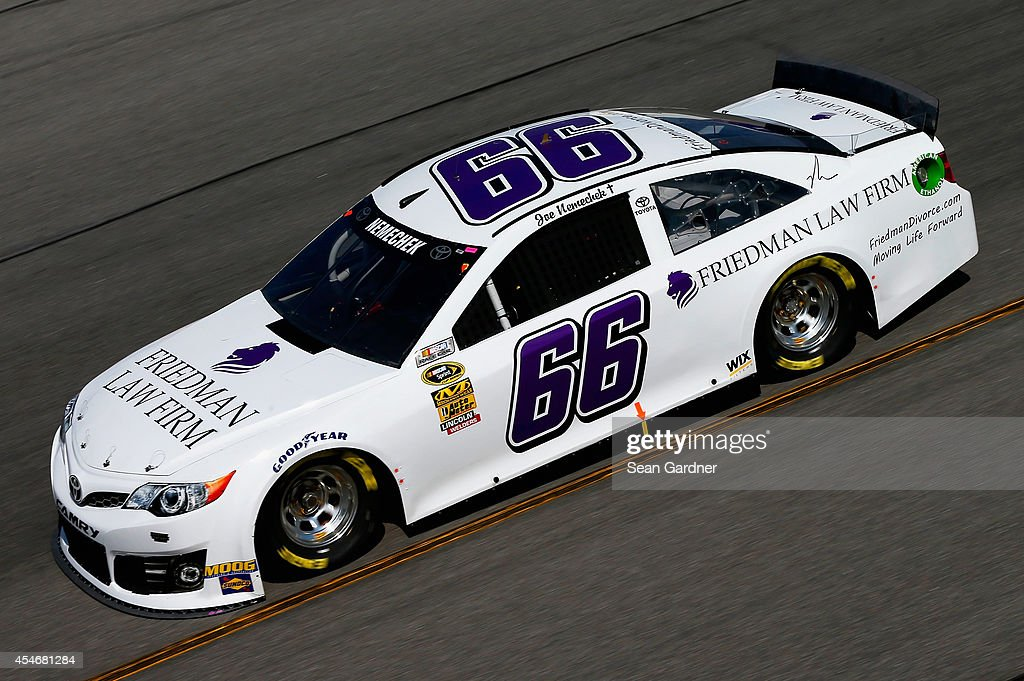 Joe Nemechek driver of the Friedman Law Firm Toyota practices for the NASCAR Sprint Cup Series Federated Auto Parts 400 at Richmond International...