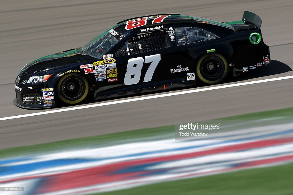 Joe Nemechek, driver of the #87 MaddiesPlaceRocks.com Toyota, practices for the NASCAR Sprint Cup Series STP 400 at Kansas Speedway on April 19, 2013 in Kansas City, Kansas.