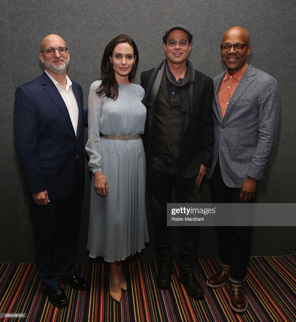 Joe Neumaier, Angelina Jolie, Brad Pitt and Patrick Harrison, Director of New York Programs Academy Of Motion Picture Arts, attend an official Academy Screening of BY THE SEA hosted by The Academy Of Motion Picture Arts And Sciences on November 3, 2015 in New York City.
