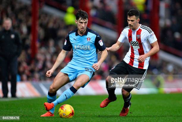 Joe Newell of Rotherham and Maxime Colin of Brentford FC during the Sky Bet Championship match between Brentford and Rotherham at Griffin Park on...