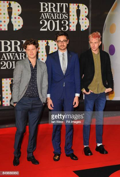 Joe Newman Gus UngerHamilton and Thom Green of AltJ arriving for the 2013 Brit Awards at the O2 Arena London