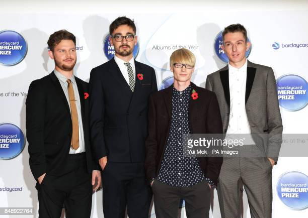 Joe Newman Gus UngerHamilton Gwil Sainsbury and Thom Green of AltJ arriving for the Mercury Prize at the Roundhouse in Camden north London
