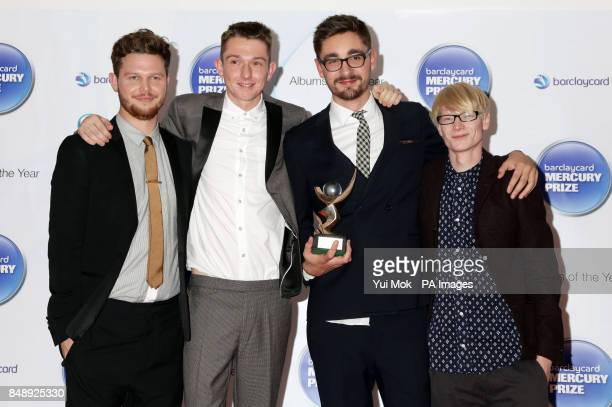 Joe Newman Thom Green Gus UngerHamilton and Gwil Sainsbury of AltJ after they were announced as winners of the Mercury Prize at the Roundhouse in...