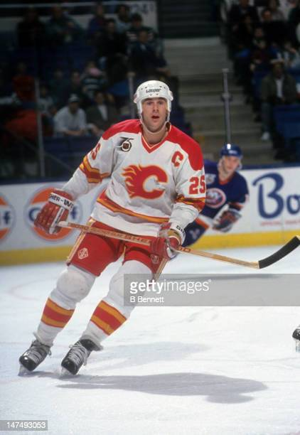 Joe Nieuwendyk of the Calgary Flames skates on the ice during an NHL game against the New York Islanders on February 2 1992 at the Nassau Coliseum in...