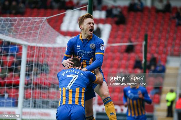 Joe Nolan of Shrewsbury Town celebrates after scoring a goal to make it 01 during the Sky Bet League One match between Rotherham United and...