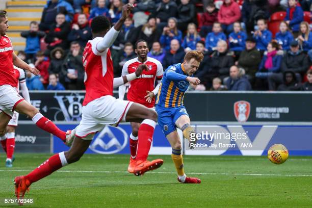 Joe Nolan of Shrewsbury Town scores a goal to make it 01 during the Sky Bet League One match between Rotherham United and Shrewsbury Town at The New...