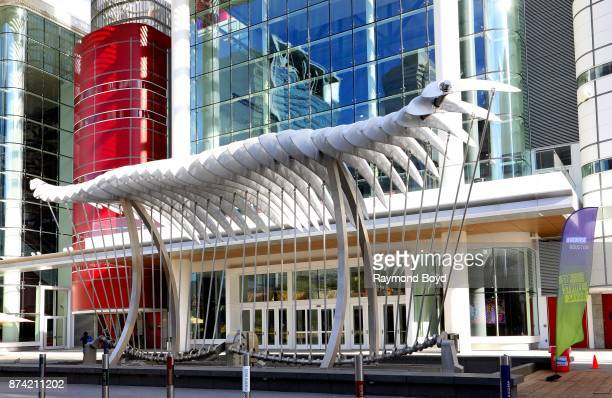 Joe O'Connell and Creative Machines' 'Wings Over Water' sculpture sits outside the George R Brown Convention Center in Houston Texas on November 6...