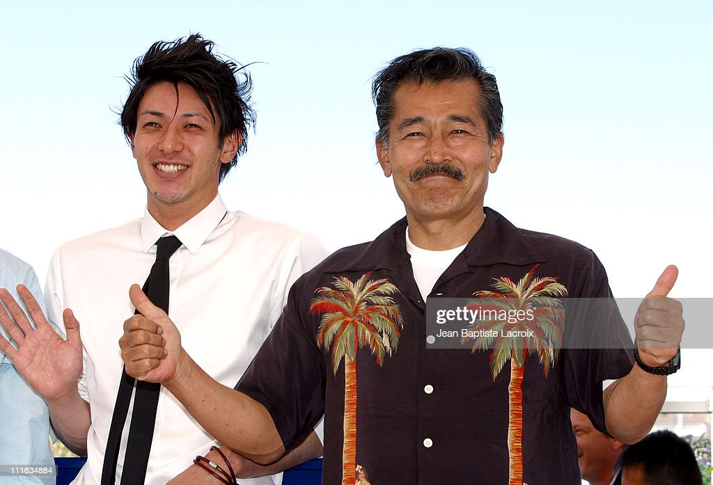<a gi-track='captionPersonalityLinkClicked' href=/galleries/search?phrase=Joe+Odagiri&family=editorial&specificpeople=3039079 ng-click='$event.stopPropagation()'>Joe Odagiri</a> and Tatsuya Fuji during 2003 Cannes Film Festival - ' Akarui Mirai ' Photo Call at Palais des Festivals in Cannes, France.