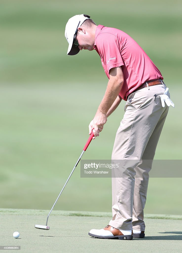 Joe Ogilvie putts on the 10th hole during the third round of the Wyndham Championship at Sedgefield Country Club on August 16, 2014 in Greensboro, North Carolina.