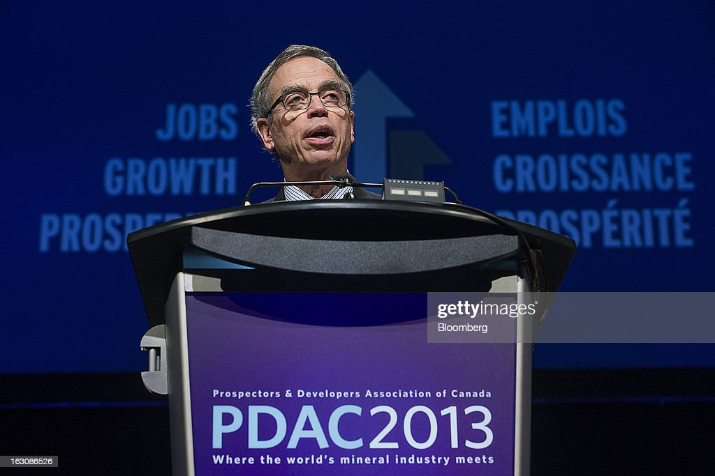 Joe Oliver Canada's natural resources minister speaks at the Prospectors and Developers Association of Canada convention in Toronto Ontario Canada on...
