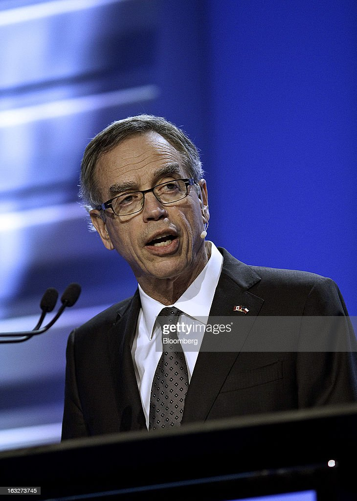 Joe Oliver, Canada's natural resources minister, speaks during the 2013 IHS CERAWeek conference in Houston, Texas, U.S., on Wednesday, March 6, 2013. Canada and the U.S. have what is arguably the closest and most important bilateral energy relationship in the world, Oliver said. Photographer: F. Carter Smith/Bloomberg via Getty Images
