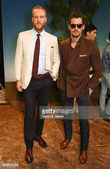 Joe Ottaway and David Gandy attend the Belstaff presentation during The London Collections Men SS17 at QEII Centre on June 12 2016 in London England
