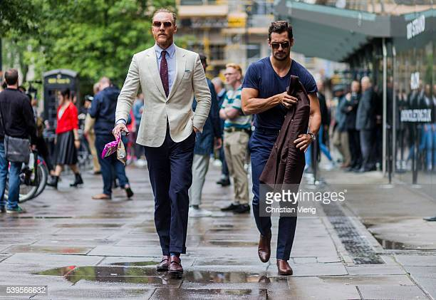 Joe Ottaway and David Gandy outside Christopher Raeburn during The London Collections Men SS17 on June 12 2016 in London England