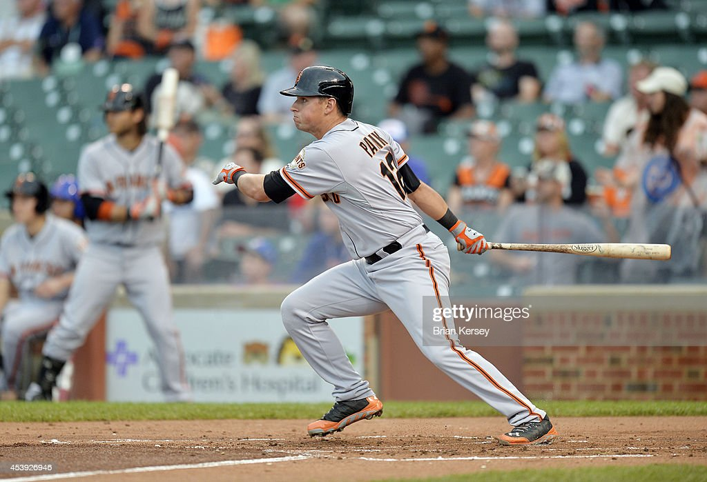 <a gi-track='captionPersonalityLinkClicked' href=/galleries/search?phrase=Joe+Panik&family=editorial&specificpeople=9008902 ng-click='$event.stopPropagation()'>Joe Panik</a> #12 of the San Francisco Giants follows through on an RBI single scoring Adam Duvall during the sixth inning of a resumed game against the Chicago Cubs at Wrigley Field on August 21, 2014 in Chicago, Illinois. The game was initially called off in the early morning hours of August 20 over a protest from the Giants. Major League Baseball accepted the Giants' appeal, ruling the delay was caused by a mechanical failure of the tarp and changing the status of the game from cancelled and completed with a Cubs 2-0 win to a suspended game.