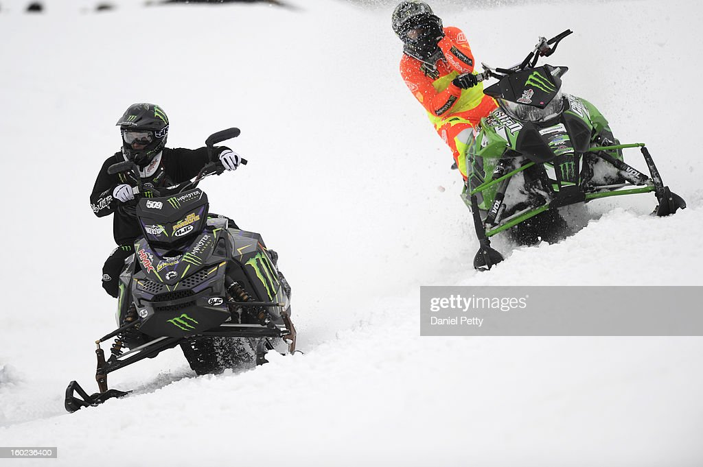Joe Parsons, front, races against Cory Davis, back, during the Snowmobile Speed & Style semifinal at Winter X Games Aspen 2013 at Buttermilk Mountain on Jan. 26, 2013, in Aspen, Colorado. Davis advanced to the gold medal final match with Levi LaVallee.