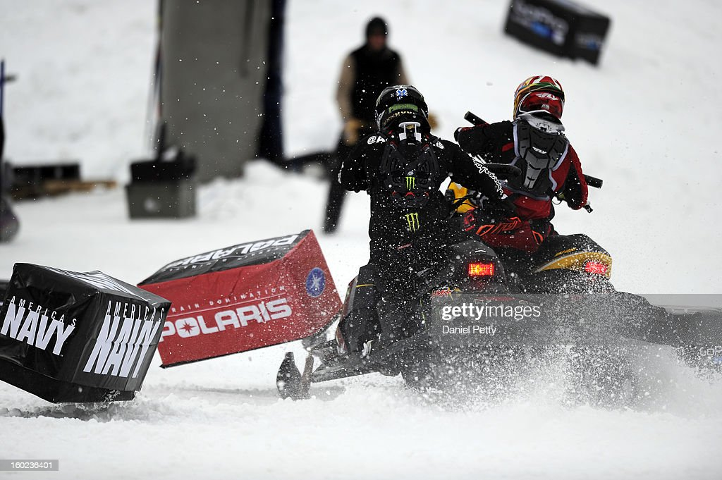 Joe Parsons, left, and Willie Elam, right, tangle for the second time during the start of the Snowmobile Speed & Style bronze medal match at Winter X Games Aspen 2013 at Buttermilk Mountain on Jan. 26, 2013, in Aspen, Colorado. Parsons eventually took bronze after the next start was clean.