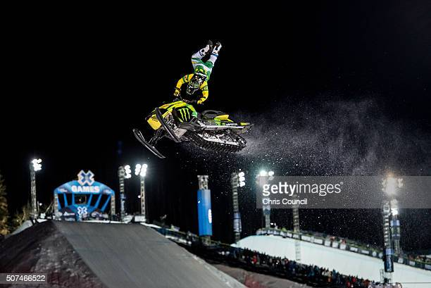 Joe Parsons races during the snowmobile freestyle final at the Winter X Games 2016 Aspen at Buttermilk Mountain on January 29 in Aspen Colorado...
