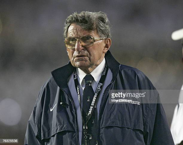 Joe Paterno head coach of Penn State before the start of the FedEx Orange Bowl between Penn State and Florida State at Dolphins Stadium in Miami...