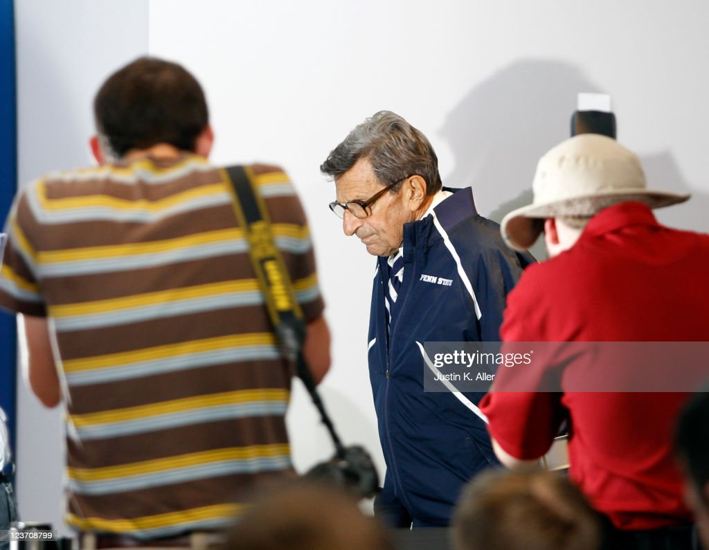 Joe Paterno of the Penn State Nittany Lions addresses the media after the game against the Indiana State Sycamores on September 3, 2011 at Beaver Stadium in State College, Pennsylvania.