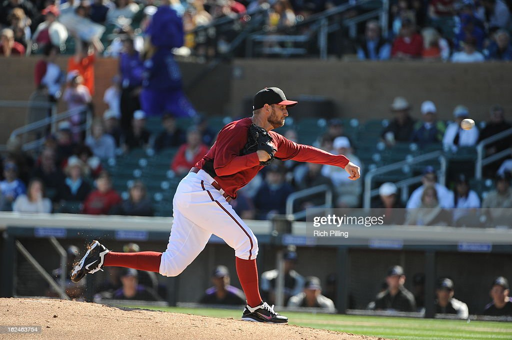 Joe Paterson #47 of the Arizona Diamondbacks pitches during the game against the Colorado Rockies on February 23, 2013 at the Salt River Fields at Talking Stick in Scottsdale, Arizona. The Rockies defeated the Diamondbacks 11-2.