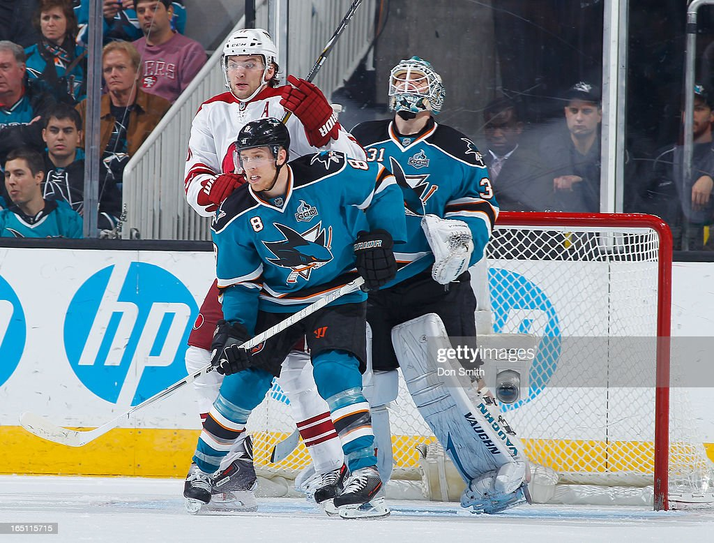 <a gi-track='captionPersonalityLinkClicked' href=/galleries/search?phrase=Joe+Pavelski&family=editorial&specificpeople=687042 ng-click='$event.stopPropagation()'>Joe Pavelski</a> #8 and <a gi-track='captionPersonalityLinkClicked' href=/galleries/search?phrase=Antti+Niemi&family=editorial&specificpeople=213913 ng-click='$event.stopPropagation()'>Antti Niemi</a> #31 of the San Jose Sharks defend the net against <a gi-track='captionPersonalityLinkClicked' href=/galleries/search?phrase=Martin+Hanzal&family=editorial&specificpeople=2109469 ng-click='$event.stopPropagation()'>Martin Hanzal</a> #11 of the Phoenix Coyotes during an NHL game on March 30, 2013 at HP Pavilion in San Jose, California.