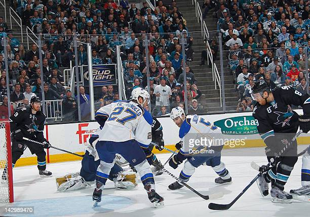 Joe Pavelski and Martin Havlat of the San Jose Sharks try to score against Alex Pietrangelo Brian Elliott and Barret Jackman of the St Louis Blues in...