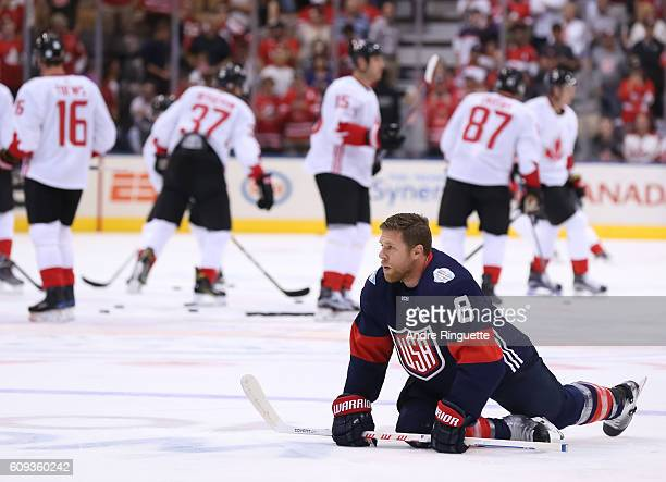 Joe Pavelski of Team USA stretches during warms up prior to a game against Team Canada during the World Cup of Hockey 2016 at Air Canada Centre on...