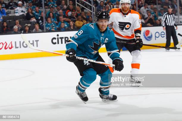 Joe Pavelski of the San Jose Sharks and Ivan Provorov of the Philadelphia Flyers look at SAP Center at San Jose on October 4 2017 in San Jose...