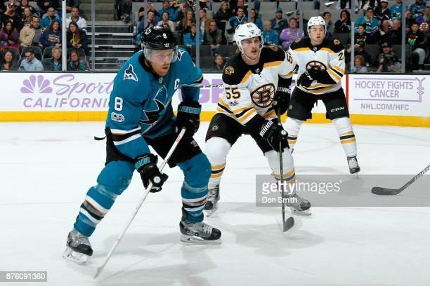 Joe Pavelski of the San Jose Sharks and Noel Acciari of the Boston Bruins look at SAP Center on November 18 2017 in San Jose California