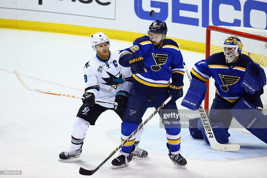 Joe Pavelski #8 of the San Jose Sharks battles for the puck with Kevin Shattenkirk #22 of the St. Louis Blues during the second period in Game Two of the Western Conference Final during the 2016 NHL Stanley Cup Playoffs at Scottrade Center on May 17, 2016 in St Louis, Missouri.