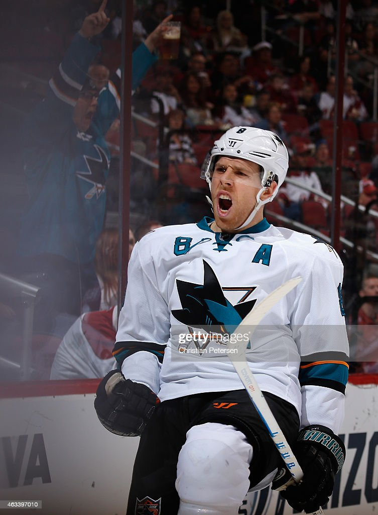 Joe Pavelski #8 of the San Jose Sharks celebrates after scoring a second period goal against the Arizona Coyotes during the NHL game at Gila River Arena on February 13, 2015 in Glendale, Arizona.