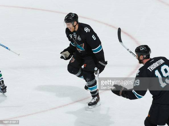 Joe Pavelski of the San Jose Sharks celebrates his goal against the Vancouver Canucks in Game One of the Western Conference Quarterfinals during the...