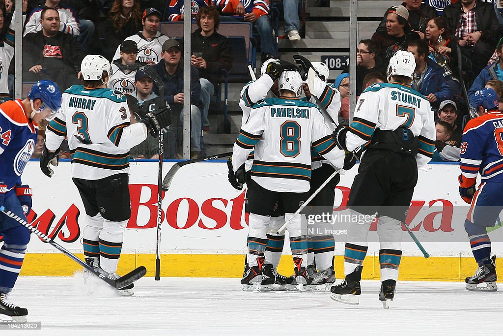 <a gi-track='captionPersonalityLinkClicked' href=/galleries/search?phrase=Joe+Pavelski&family=editorial&specificpeople=687042 ng-click='$event.stopPropagation()'>Joe Pavelski</a> #8 of the San Jose Sharks celebrates with teammates after scoring a goal against the Edmonton Oilers on March 20, 2013 at Rexall Place in Edmonton, Alberta, Canada.