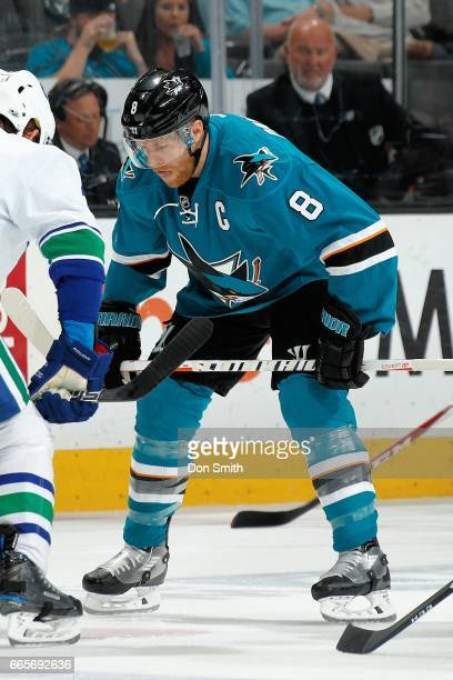 Joe Pavelski of the San Jose Sharks gets ready prior to a face off during a NHL game against the Vancouver Canucks at SAP Center at San Jose on April...