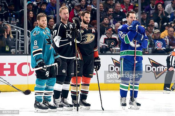 Joe Pavelski of the San Jose Sharks Jeff Carter of the Los Angeles Kings Ryan Kesler of the Anaheim Ducks and Bo Horvat of the Vancouver Canucks look...