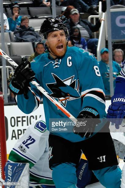 Joe Pavelski of the San Jose Sharks looks during a NHL game against the Vancouver Canucks at SAP Center at San Jose on April 4 2017 in San Jose...
