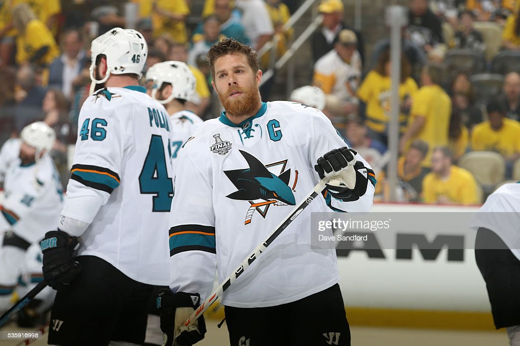 <a gi-track='captionPersonalityLinkClicked' href=/galleries/search?phrase=Joe+Pavelski&family=editorial&specificpeople=687042 ng-click='$event.stopPropagation()'>Joe Pavelski</a> #8 of the San Jose Sharks looks on during warm-up prior to Game One of the 2016 NHL Stanley Cup Final against the Pittsburgh Penguins at Consol Energy Center on May 30, 2016 in Pittsburgh, Pennsylvania.