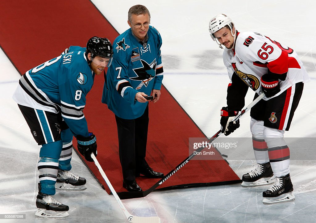 <a gi-track='captionPersonalityLinkClicked' href=/galleries/search?phrase=Joe+Pavelski&family=editorial&specificpeople=687042 ng-click='$event.stopPropagation()'>Joe Pavelski</a> #8 of the San Jose Sharks receives the game puck from Sharks alumni <a gi-track='captionPersonalityLinkClicked' href=/galleries/search?phrase=Igor+Larionov&family=editorial&specificpeople=201768 ng-click='$event.stopPropagation()'>Igor Larionov</a>, as Larionov is honored in tonight alumni night against <a gi-track='captionPersonalityLinkClicked' href=/galleries/search?phrase=Erik+Karlsson&family=editorial&specificpeople=5370939 ng-click='$event.stopPropagation()'>Erik Karlsson</a> #65 of the Ottawa Senators during a NHL game at the SAP Center at San Jose on January 18, 2016 in San Jose, California.