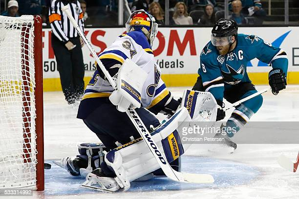 Joe Pavelski of the San Jose Sharks scores against Jake Allen of the St Louis Blues in the third period of game four of the Western Conference Finals...