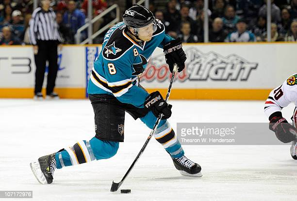 Joe Pavelski of the San Jose Sharks shoots and scores a goal against the Chicago Blackhawks during an NHL hockey game at the HP Pavilion on November...