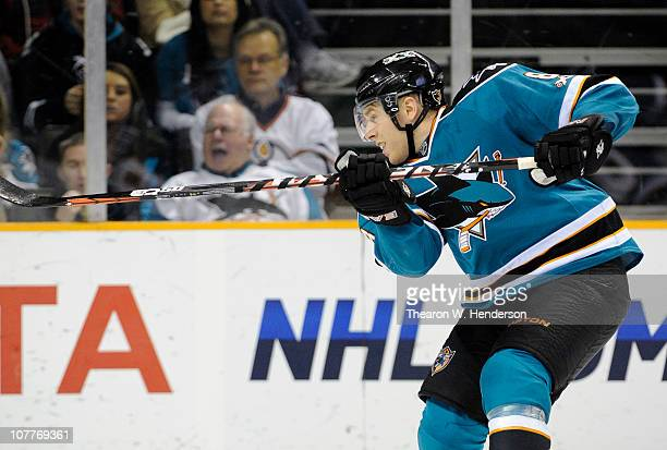 Joe Pavelski of the San Jose Sharks shoots on goal against the Edmonton Oilers during an NHL hockey game at the HP Pavilion on December 21 2010 in...