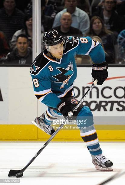 Joe Pavelski of the San Jose Sharks shoots on goal against the Vancouver Canucks at HP Pavilion at San Jose on November 26 2011 in San Jose...
