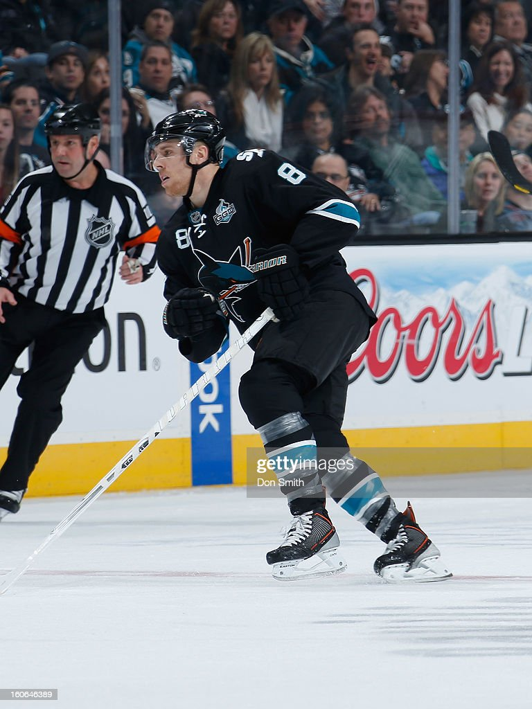 Joe Pavelski #8 of the San Jose Sharks skates after the puck against the Edmonton Oilers during an NHL game on January 31, 2013 at HP Pavilion in San Jose, California.