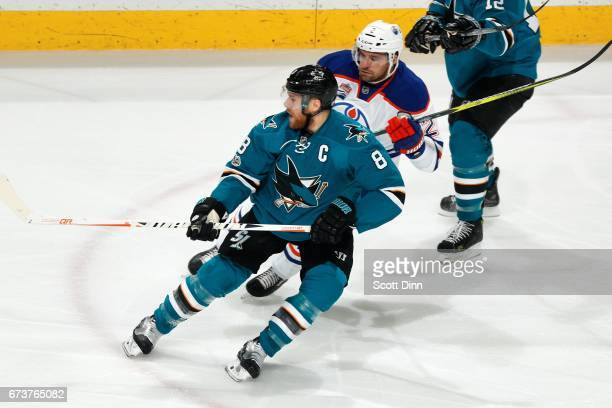 Joe Pavelski of the San Jose Sharks skates against Andrej Sekera of the Edmonton Oilers in Game Six of the Western Conference First Round during the...