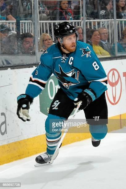 Joe Pavelski of the San Jose Sharks skates during a NHL game against the Vancouver Canucksat SAP Center at San Jose on April 4 2017 in San Jose...