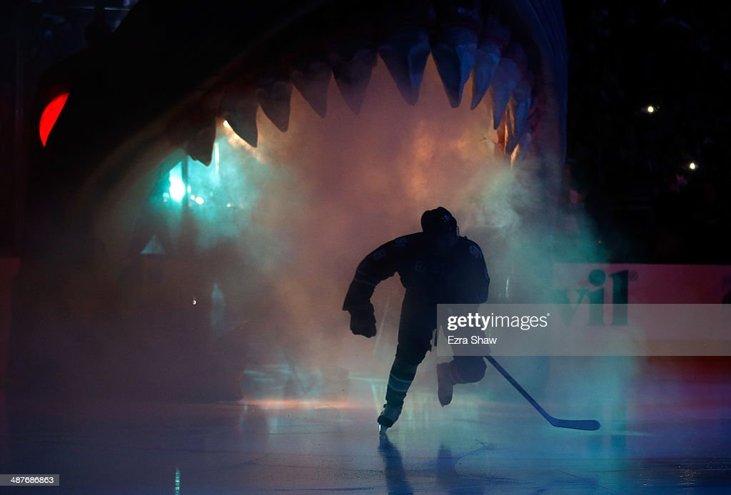 <a gi-track='captionPersonalityLinkClicked' href=/galleries/search?phrase=Joe+Pavelski&family=editorial&specificpeople=687042 ng-click='$event.stopPropagation()'>Joe Pavelski</a> #8 of the San Jose Sharks skates onto the ice for their game against the Los Angeles Kings in Game Two of the First Round of the 2014 NHL Stanley Cup Playoffs at SAP Center on April 20, 2014 in San Jose, California.