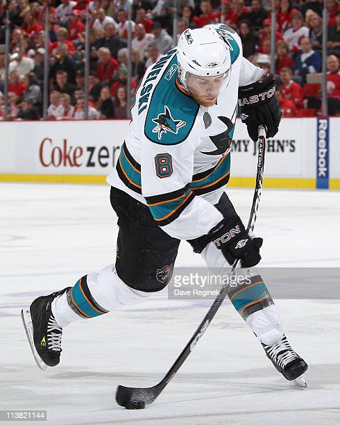 Joe Pavelski of the San Jose Sharks takes a shot in Game Four of the Western Conference Semifinals in the 2011 NHL Stanley Cup Playoffs against the...