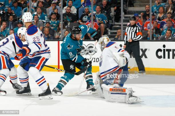 Joe Pavelski of the San Jose Sharks tips the puck by Laurent Brossoit of the Edmonton Oilers to score a second period goal in Game Four of the...