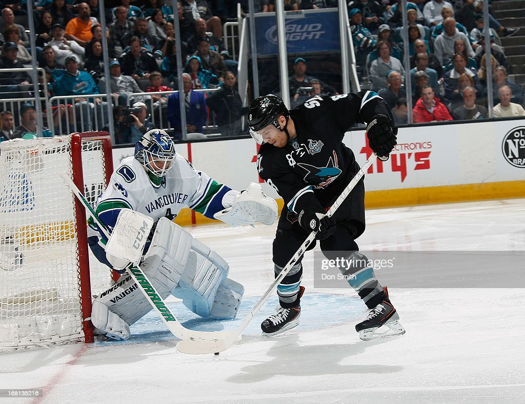 Joe Pavelski #8 of the San Jose Sharks tries to score against Cory Schneider #35 of the Vancouver Canucks in Game One of the Western Conference Quarterfinals during the 2013 Stanley Cup Playoffs at HP Pavilion on May 5, 2013 in San Jose, California.